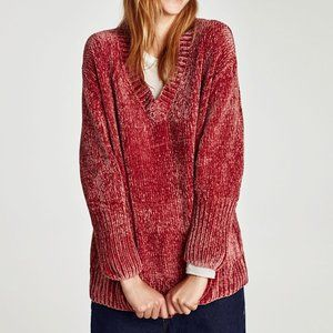 Zara Oversized Textured Cozy Red Sweater Sz. Small